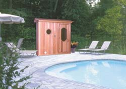 Outdoor sauna at a pool